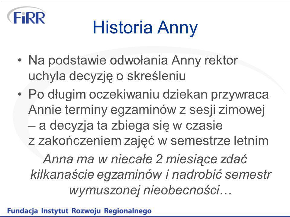 Historia Anny Na podstawie odwołania Anny rektor uchyla decyzję o skreśleniu Po długim oczekiwaniu dziekan przywraca Annie terminy egzaminów z sesji z