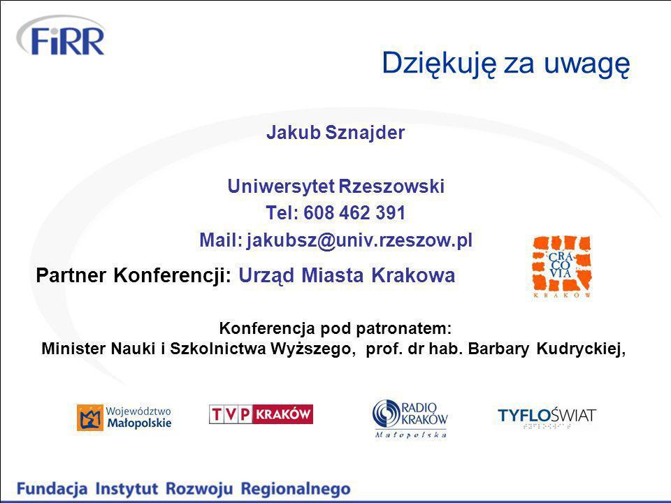 Dziękuję za uwagę Jakub Sznajder Uniwersytet Rzeszowski Tel: 608 462 391 Mail: jakubsz@univ.rzeszow.pl Partner Konferencji: Urząd Miasta Krakowa Konfe