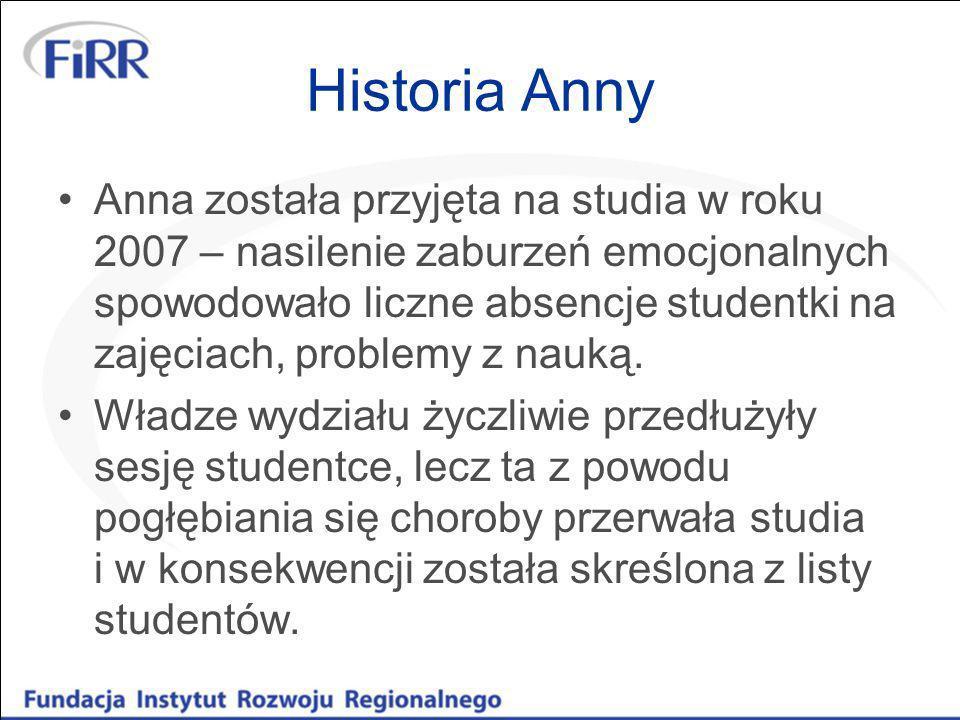 Historia Anny W roku 2008 Anna czuje się lepiej, ponownie zdaje egzaminy na I rok tych samych studiów.