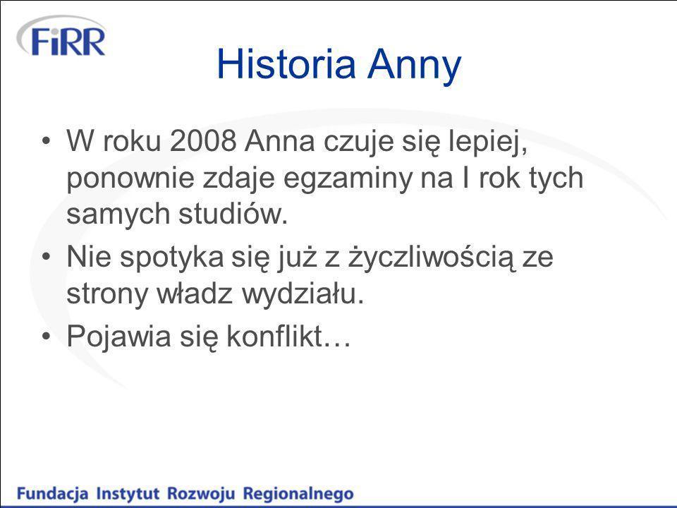 Historia Anny Konflikt objawia się w postaci jawnie okazywanej Annie niechęci przez prodziekana wydziału Prodziekan wielokrotnie publicznie poddaje w wątpliwość stan zdrowia Anny, jej zdolności – co stanowi dla studentki duży stres i upokorzenie Stan zdrowia Anny z powodu stresu pogarsza się