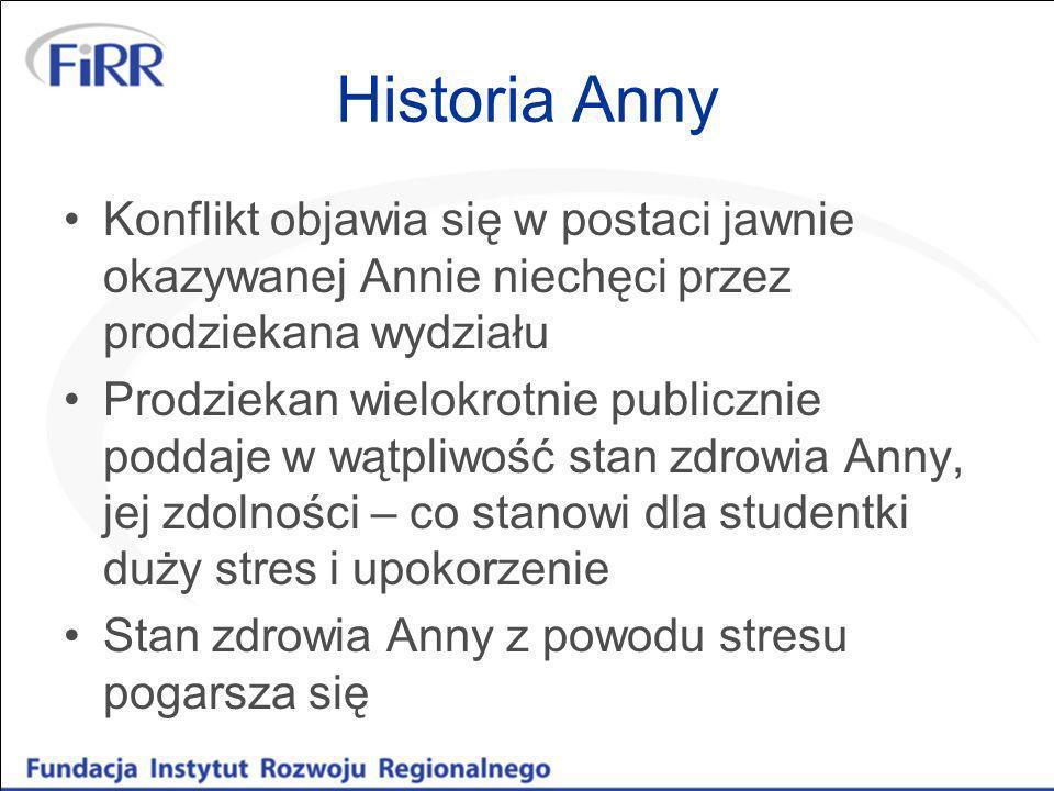 Historia Anny Konflikt objawia się w postaci jawnie okazywanej Annie niechęci przez prodziekana wydziału Prodziekan wielokrotnie publicznie poddaje w