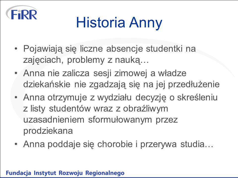 Historia Anny Pojawiają się liczne absencje studentki na zajęciach, problemy z nauką… Anna nie zalicza sesji zimowej a władze dziekańskie nie zgadzają