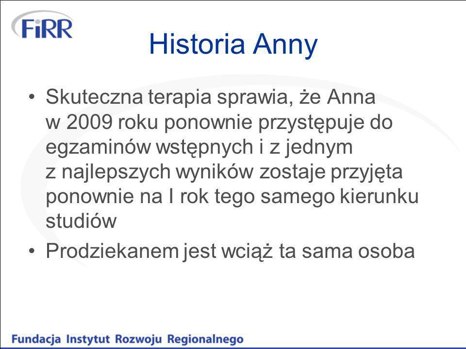 Historia Anny Skuteczna terapia sprawia, że Anna w 2009 roku ponownie przystępuje do egzaminów wstępnych i z jednym z najlepszych wyników zostaje przy
