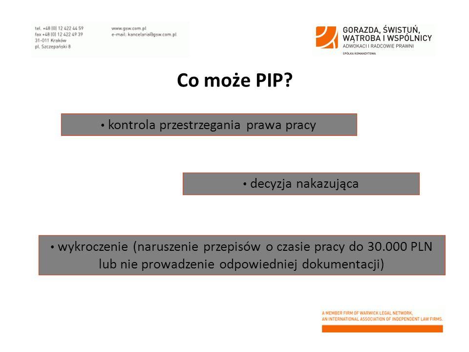 Co może PIP? decyzja nakazująca wykroczenie (naruszenie przepisów o czasie pracy do 30.000 PLN lub nie prowadzenie odpowiedniej dokumentacji) kontrola