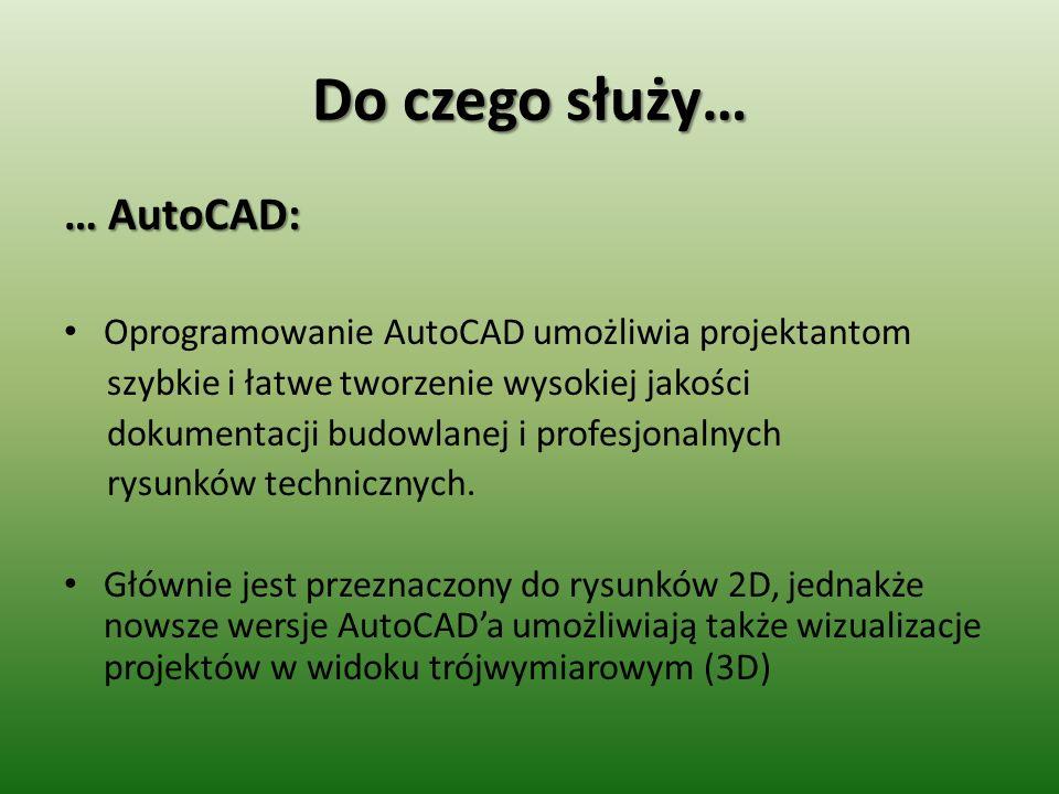 Do czego służy… … AutoCAD: Oprogramowanie AutoCAD umożliwia projektantom szybkie i łatwe tworzenie wysokiej jakości dokumentacji budowlanej i profesjo
