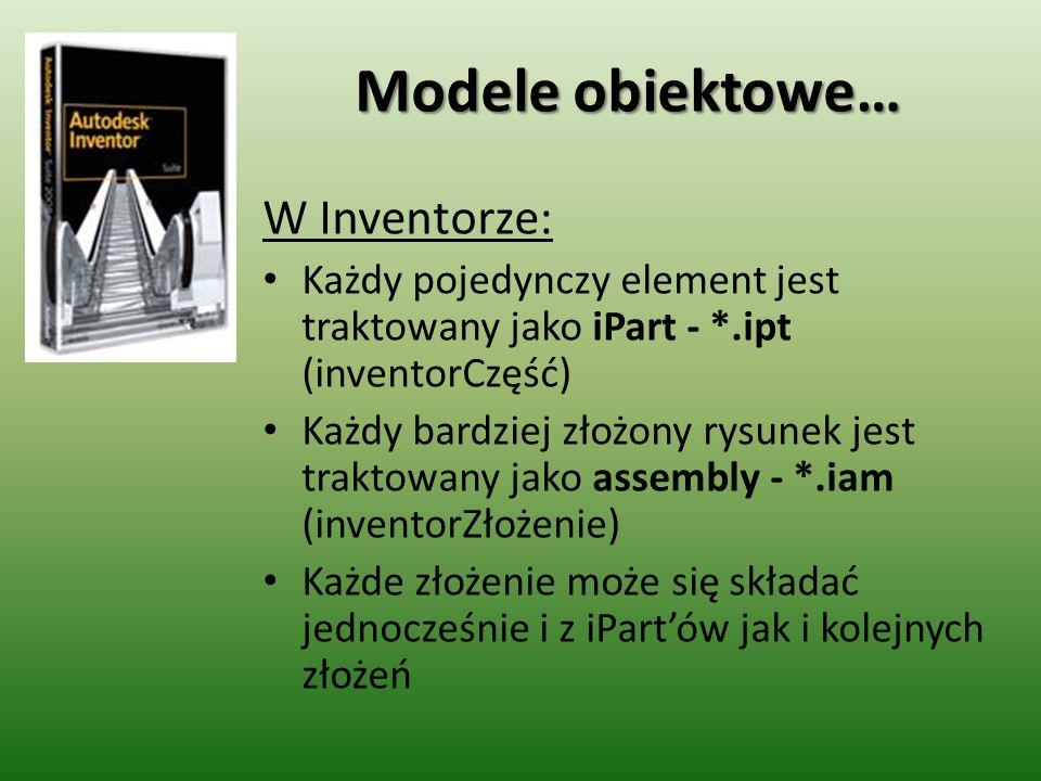Modele obiektowe… W Inventorze: Każdy pojedynczy element jest traktowany jako iPart - *.ipt (inventorCzęść) Każdy bardziej złożony rysunek jest trakto