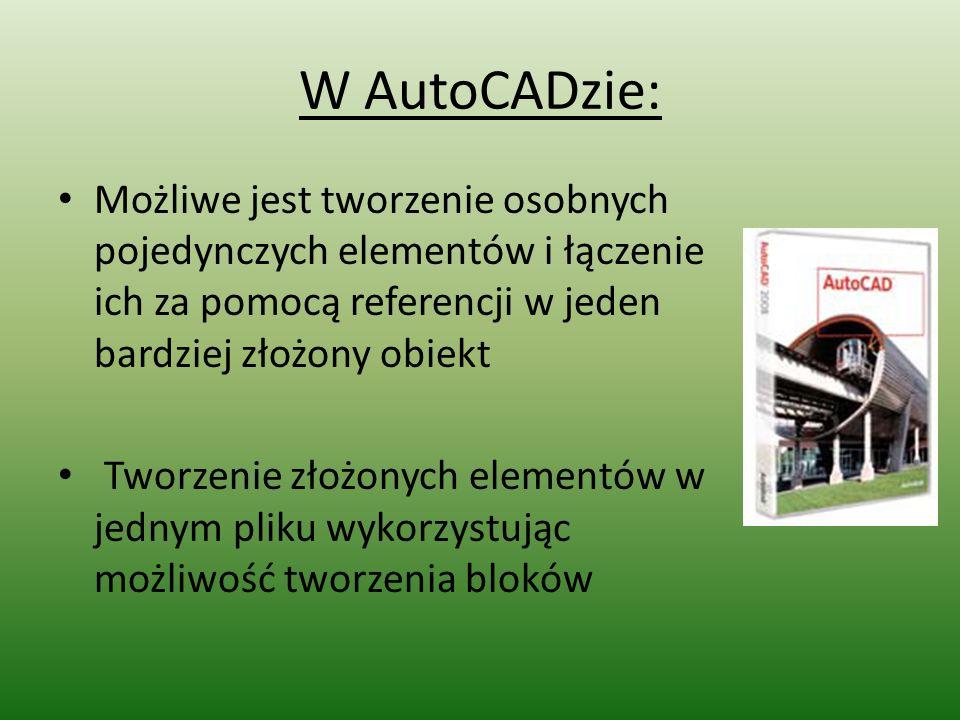 W AutoCADzie: Możliwe jest tworzenie osobnych pojedynczych elementów i łączenie ich za pomocą referencji w jeden bardziej złożony obiekt Tworzenie zło