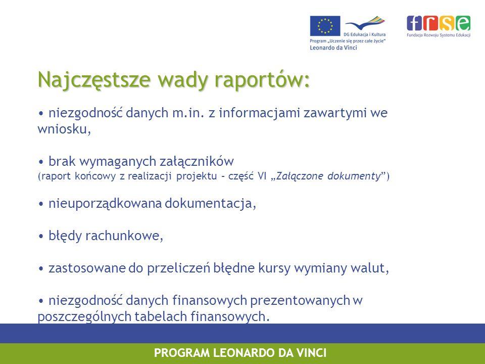 PROGRAM LEONARDO DA VINCI Najczęstsze wady raportów: niezgodność danych m.in. z informacjami zawartymi we wniosku, brak wymaganych załączników (raport