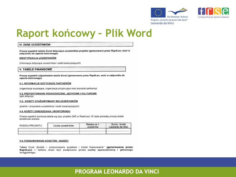 Raport końcowy – Plik Word PROGRAM LEONARDO DA VINCI