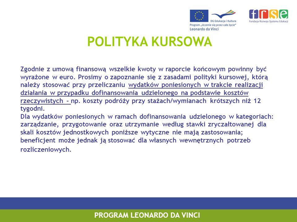 POLITYKA KURSOWA Zgodnie z umową finansową wszelkie kwoty w raporcie końcowym powinny być wyrażone w euro. Prosimy o zapoznanie się z zasadami polityk