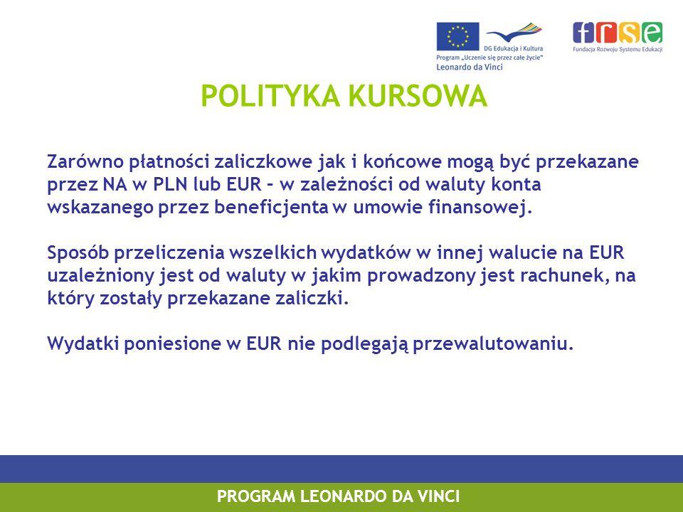 POLITYKA KURSOWA Zarówno płatności zaliczkowe jak i końcowe mogą być przekazane przez NA w PLN lub EUR – w zależności od waluty konta wskazanego przez