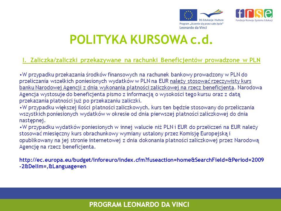 POLITYKA KURSOWA c.d. I. Zaliczka/zaliczki przekazywane na rachunki Beneficjentów prowadzone w PLN W przypadku przekazania środków finansowych na rach