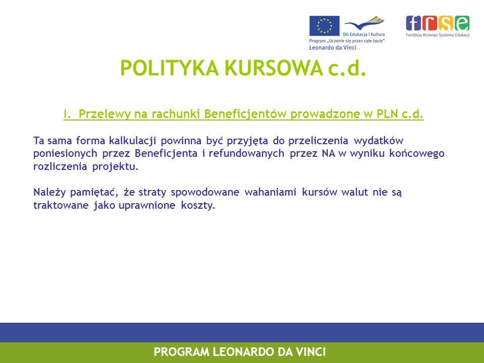 POLITYKA KURSOWA c.d. I. Przelewy na rachunki Beneficjentów prowadzone w PLN c.d. Ta sama forma kalkulacji powinna być przyjęta do przeliczenia wydatk