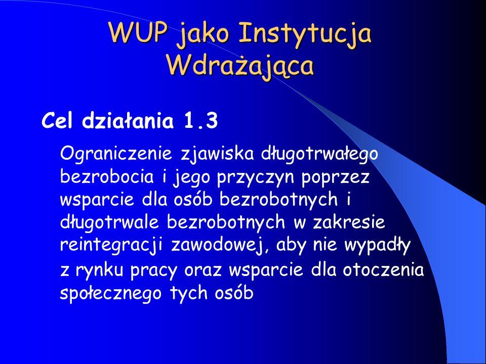 WUP jako Instytucja Wdrażająca Cel działania 1.3 Ograniczenie zjawiska długotrwałego bezrobocia i jego przyczyn poprzez wsparcie dla osób bezrobotnych