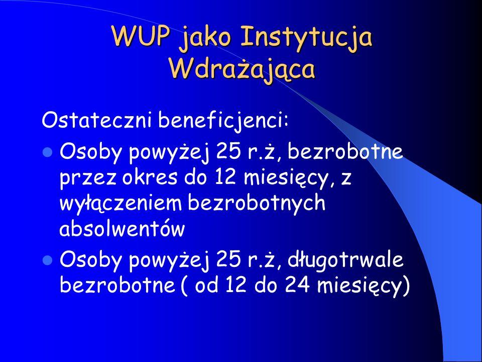 WUP jako Instytucja Wdrażająca Ostateczni beneficjenci: Osoby powyżej 25 r.ż, bezrobotne przez okres do 12 miesięcy, z wyłączeniem bezrobotnych absolw
