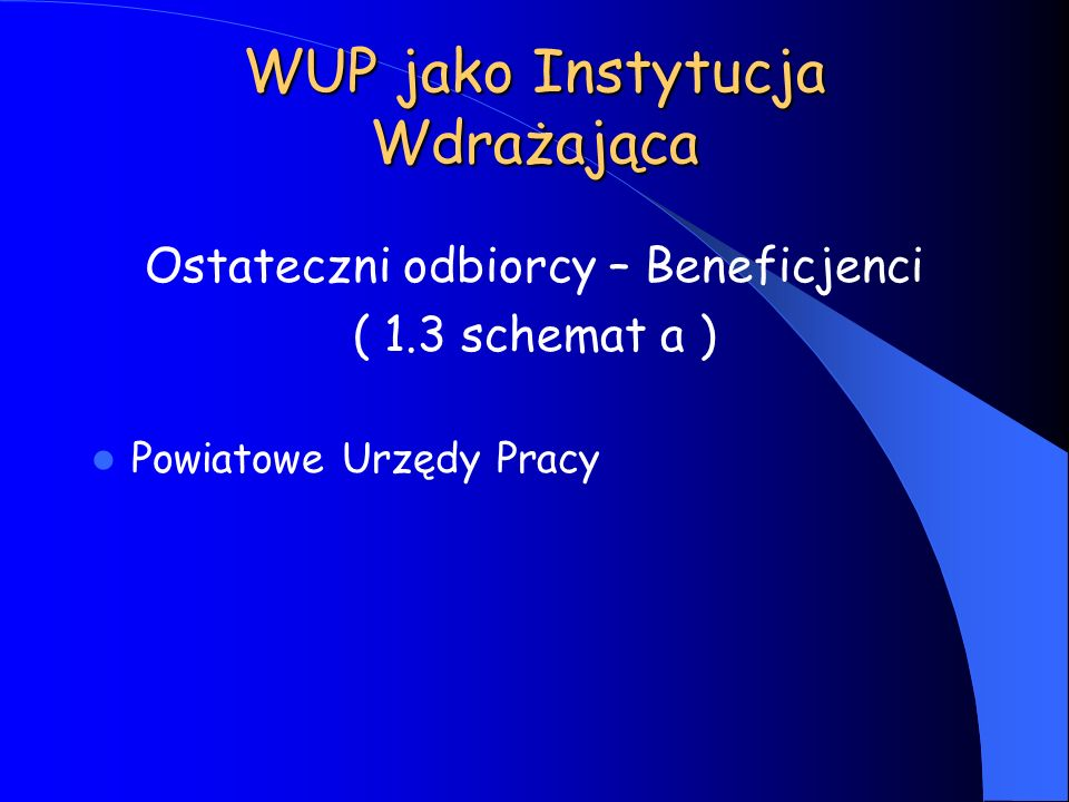 WUP jako Instytucja Wdrażająca Ostateczni odbiorcy – Beneficjenci ( 1.3 schemat a ) Powiatowe Urzędy Pracy