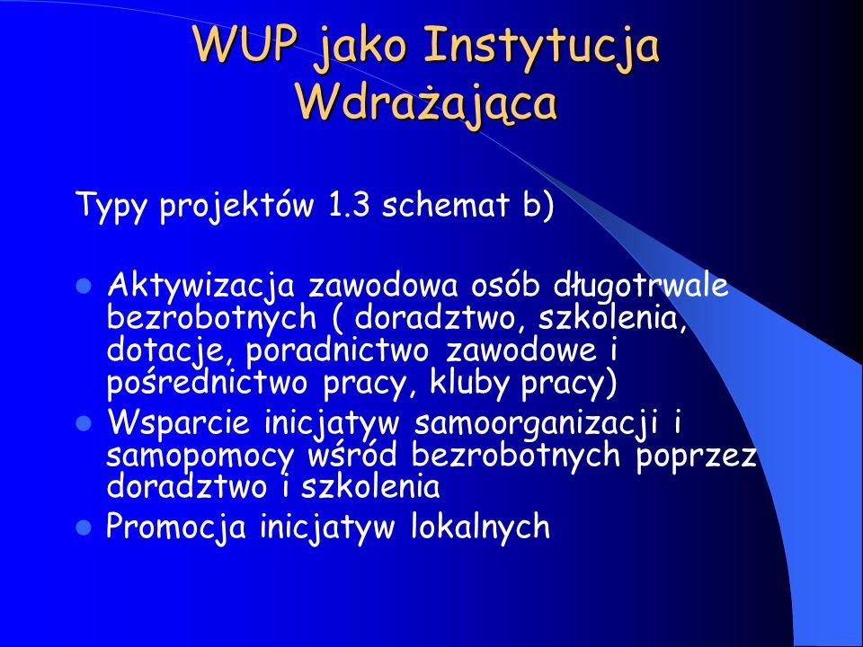 WUP jako Instytucja Wdrażająca Typy projektów 1.3 schemat b) Aktywizacja zawodowa osób długotrwale bezrobotnych ( doradztwo, szkolenia, dotacje, porad