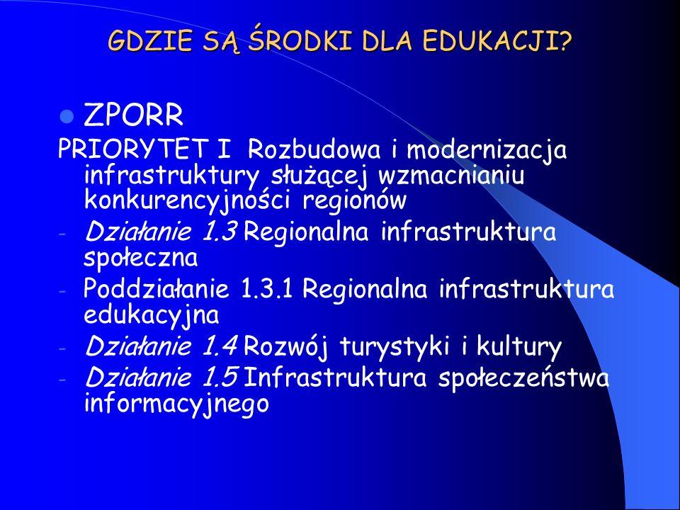 GDZIE SĄ ŚRODKI DLA EDUKACJI? ZPORR PRIORYTET I Rozbudowa i modernizacja infrastruktury służącej wzmacnianiu konkurencyjności regionów - Działanie 1.3