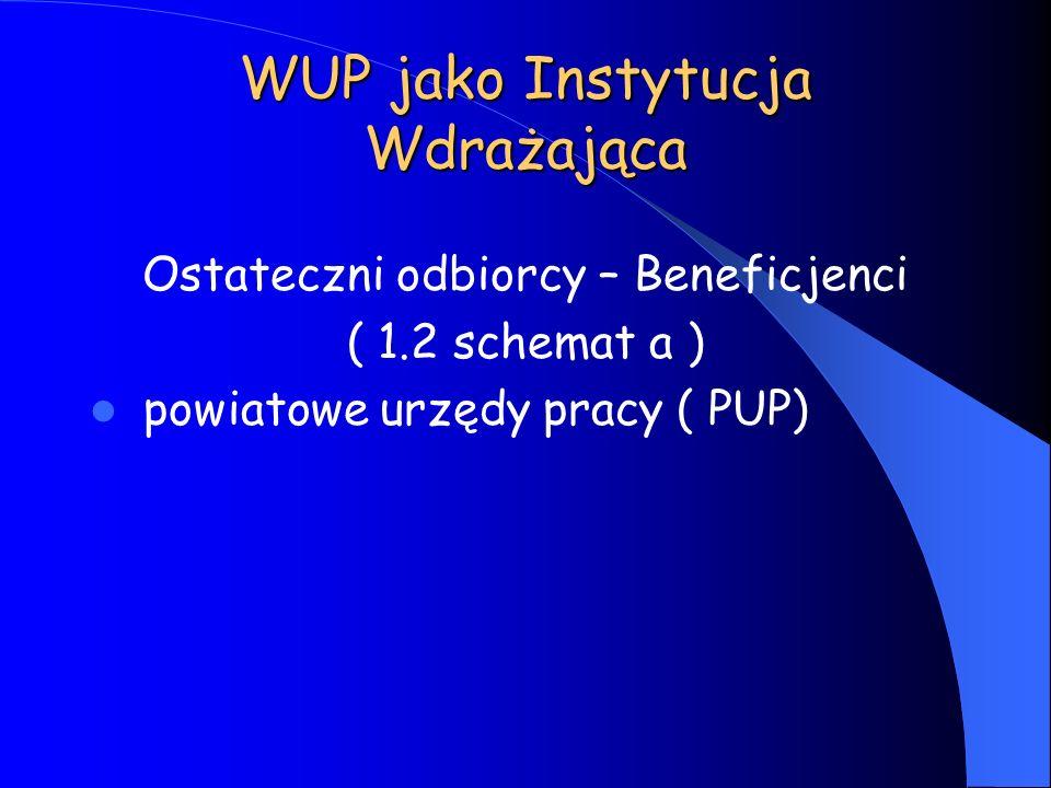 WUP jako Instytucja Wdrażająca Ostateczni odbiorcy – Beneficjenci ( 1.2 schemat a ) powiatowe urzędy pracy ( PUP)