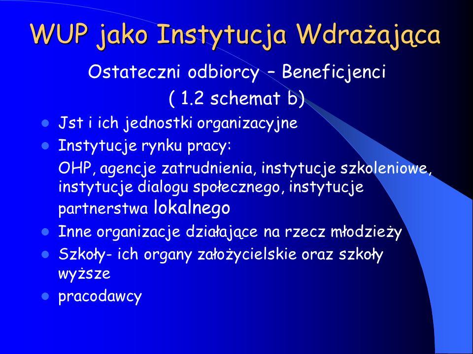 WUP jako Instytucja Wdrażająca Ostateczni odbiorcy – Beneficjenci ( 1.2 schemat b) Jst i ich jednostki organizacyjne Instytucje rynku pracy: OHP, agen