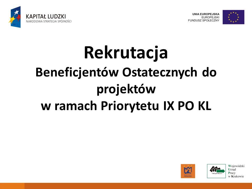 1 Rekrutacja Beneficjentów Ostatecznych do projektów w ramach Priorytetu IX PO KL