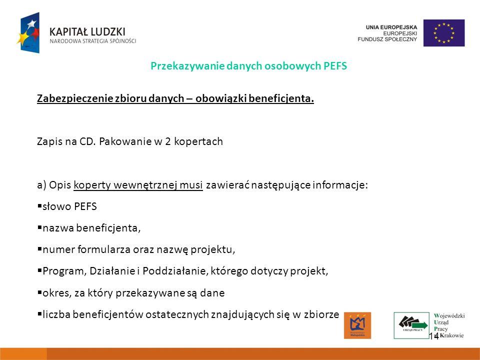 14 Przekazywanie danych osobowych PEFS Zabezpieczenie zbioru danych – obowiązki beneficjenta.