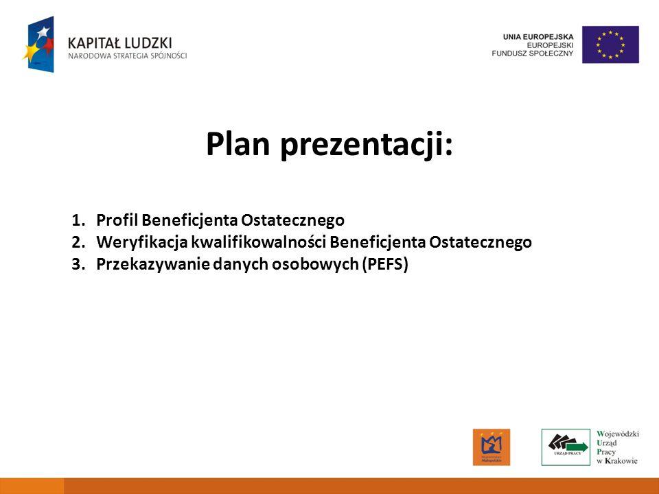 2 Plan prezentacji: 1.Profil Beneficjenta Ostatecznego 2.Weryfikacja kwalifikowalności Beneficjenta Ostatecznego 3.Przekazywanie danych osobowych (PEFS)