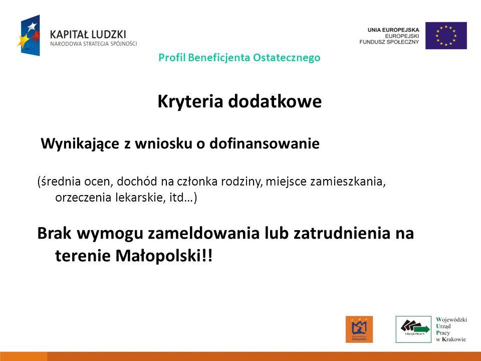7 Profil Beneficjenta Ostatecznego Kryteria dodatkowe Wynikające z wniosku o dofinansowanie (średnia ocen, dochód na członka rodziny, miejsce zamieszkania, orzeczenia lekarskie, itd…) Brak wymogu zameldowania lub zatrudnienia na terenie Małopolski!!