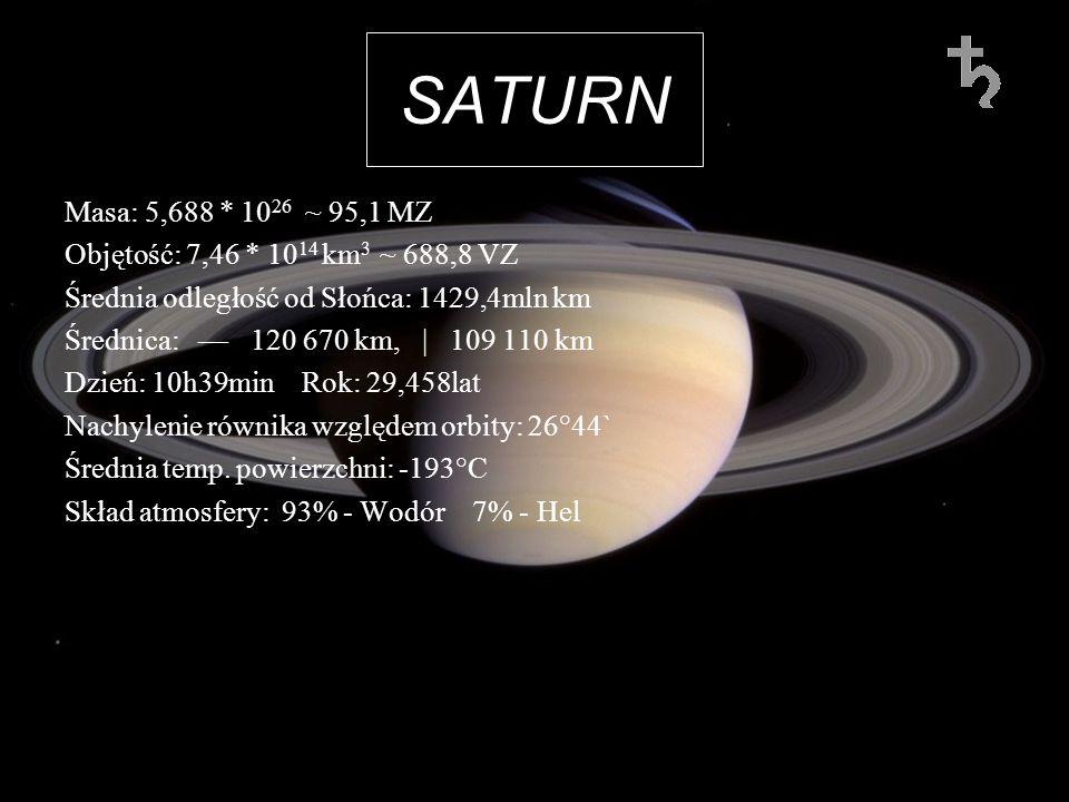 SATURN Masa: 5,688 * 10 26 ~ 95,1 MZ Objętość: 7,46 * 10 14 km 3 ~ 688,8 VZ Średnia odległość od Słońca: 1429,4mln km Średnica: 120 670 km, | 109 110