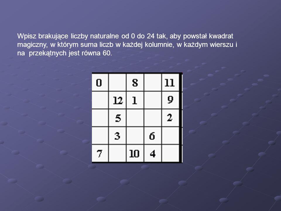 Wpisz brakujące liczby naturalne od 0 do 24 tak, aby powstał kwadrat magiczny, w którym suma liczb w każdej kolumnie, w każdym wierszu i na przekątnyc