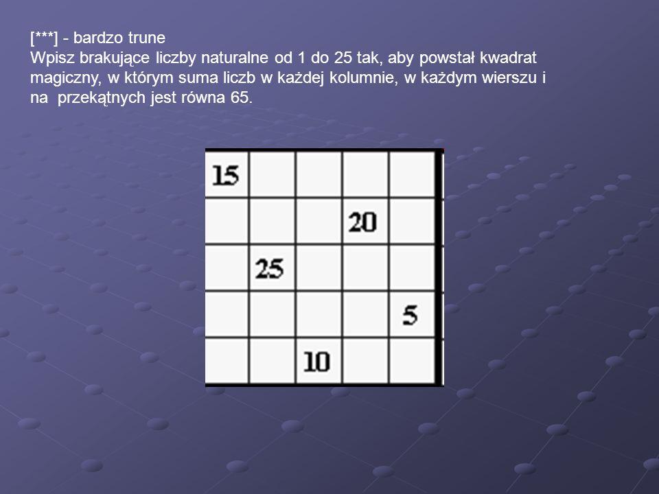 [***] - bardzo trune Wpisz brakujące liczby naturalne od 1 do 25 tak, aby powstał kwadrat magiczny, w którym suma liczb w każdej kolumnie, w każdym wi