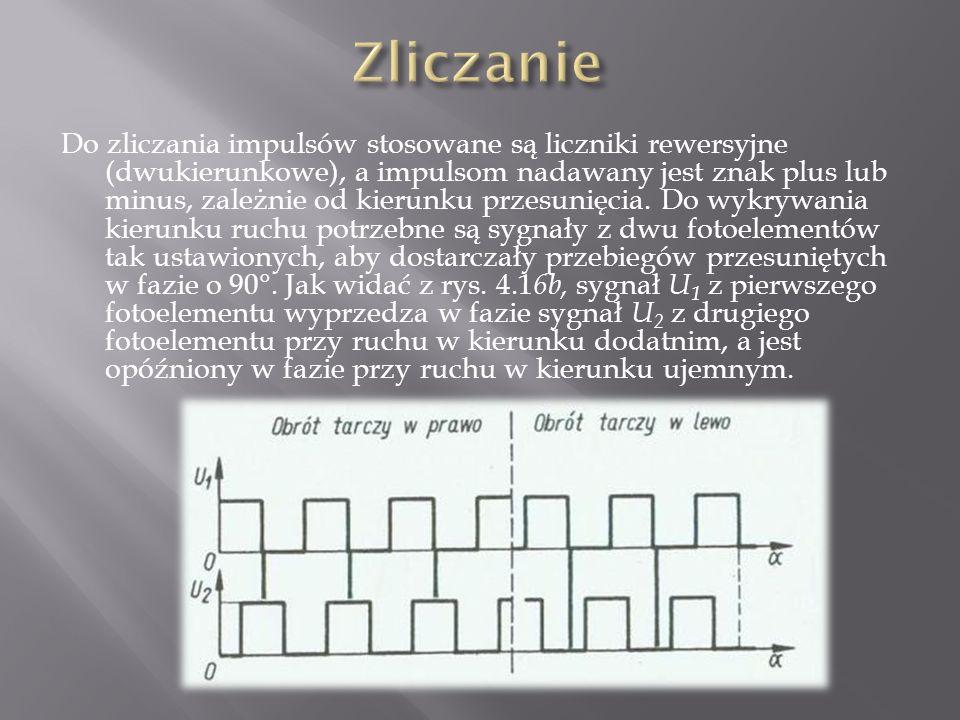 Do zliczania impulsów stosowane są liczniki rewersyjne (dwukierunkowe), a impulsom nadawany jest znak plus lub minus, zależnie od kierunku przesunięcia.