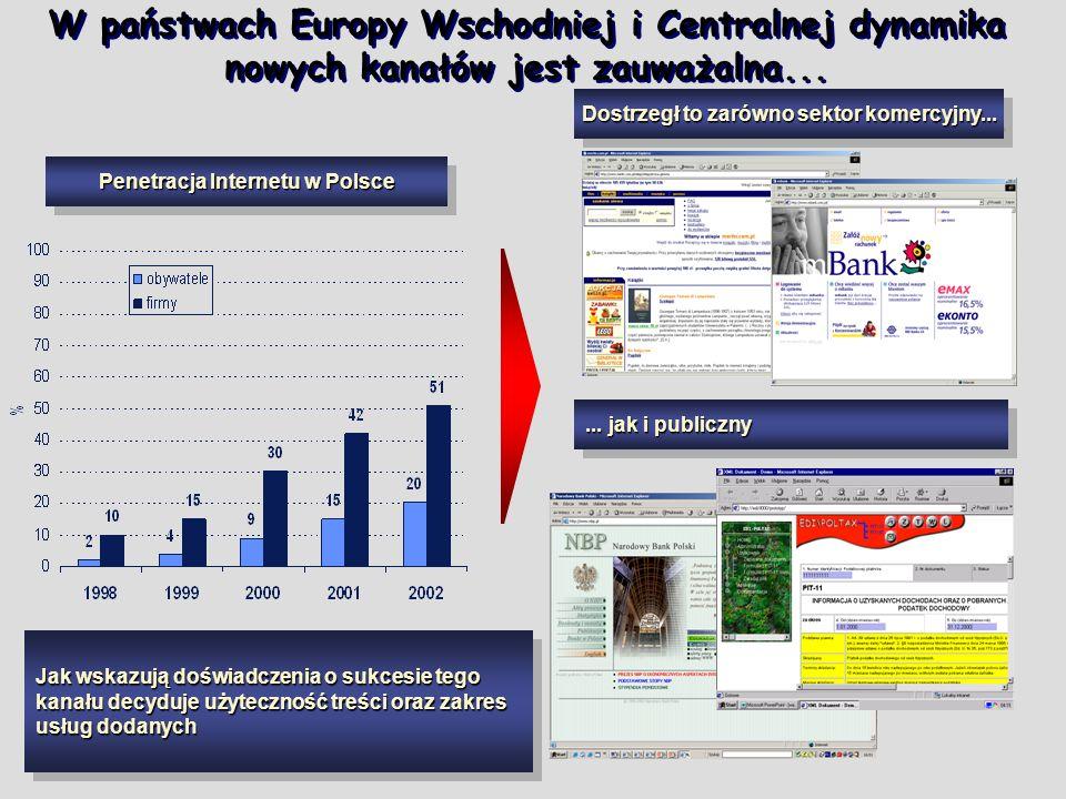 W państwach Europy Wschodniej i Centralnej dynamika nowych kanałów jest zauważalna... Penetracja Internetu w Polsce Dostrzegł to zarówno sektor komerc