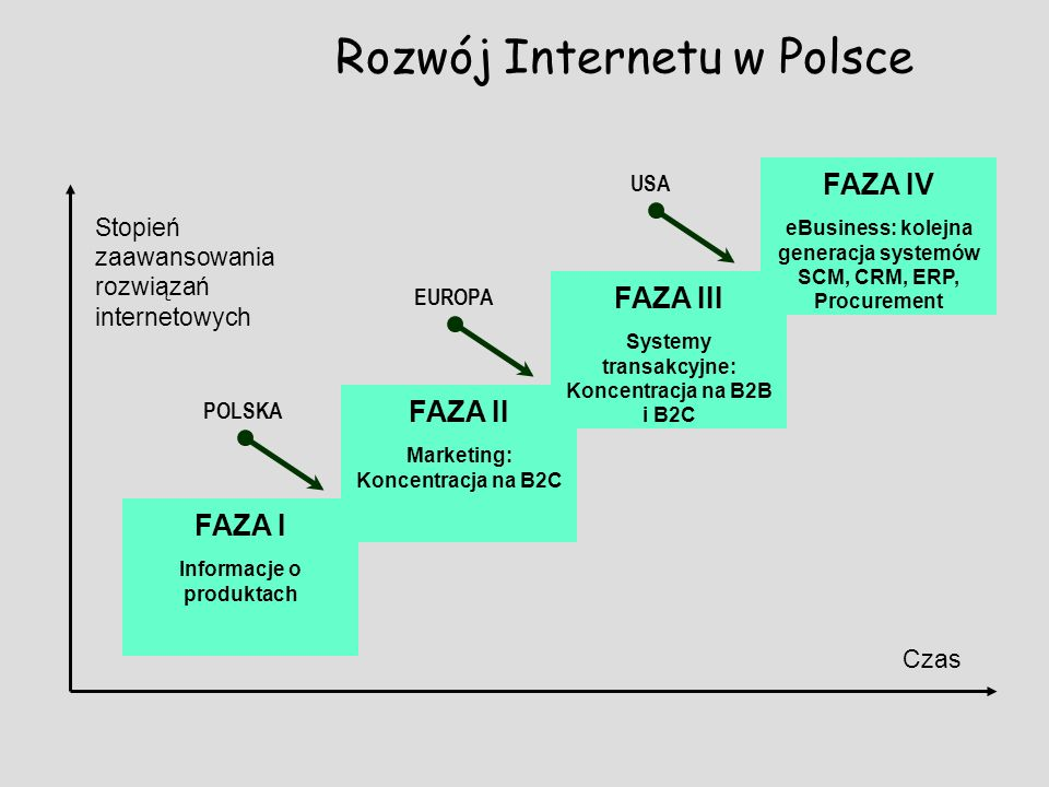 Rozwój Internetu w Polsce Informacje o produktach FAZA I Marketing: Koncentracja na B2C FAZA II Systemy transakcyjne: Koncentracja na B2B i B2C FAZA I
