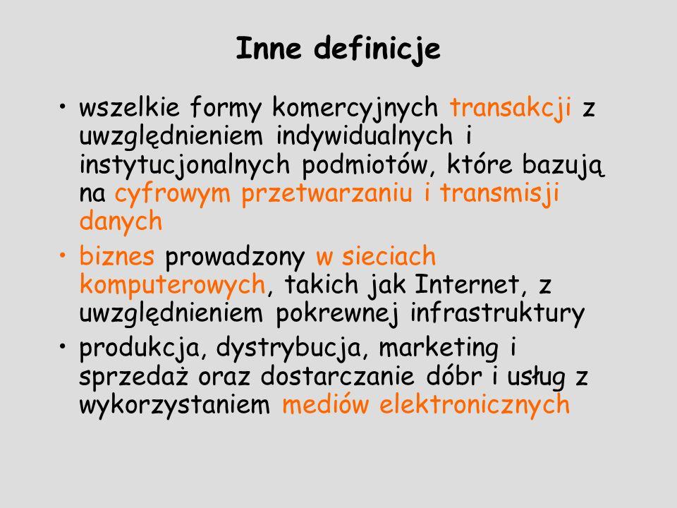 Inne definicje wszelkie formy komercyjnych transakcji z uwzględnieniem indywidualnych i instytucjonalnych podmiotów, które bazują na cyfrowym przetwar