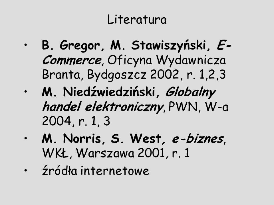 Literatura B. Gregor, M. Stawiszyński, E- Commerce, Oficyna Wydawnicza Branta, Bydgoszcz 2002, r. 1,2,3 M. Niedźwiedziński, Globalny handel elektronic