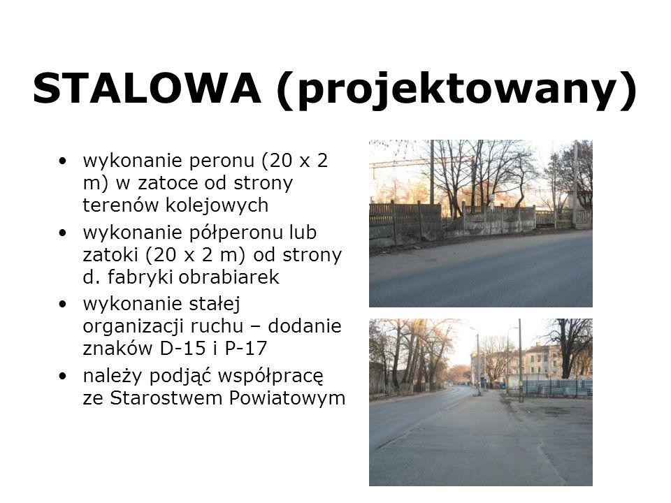 STALOWA (projektowany) wykonanie peronu (20 x 2 m) w zatoce od strony terenów kolejowych wykonanie półperonu lub zatoki (20 x 2 m) od strony d. fabryk