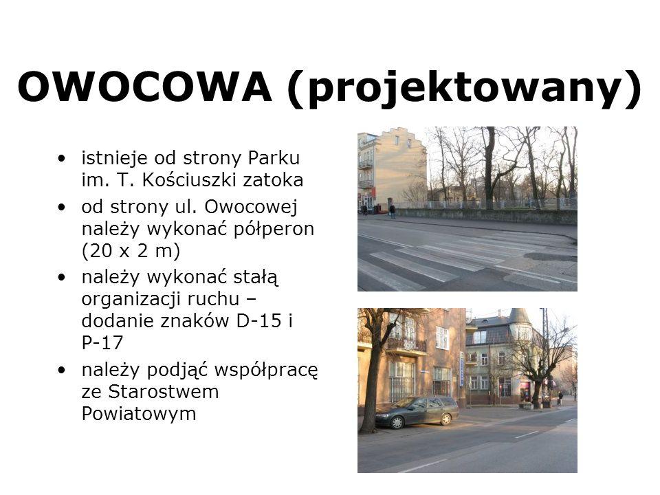 OWOCOWA (projektowany) istnieje od strony Parku im. T. Kościuszki zatoka od strony ul. Owocowej należy wykonać półperon (20 x 2 m) należy wykonać stał