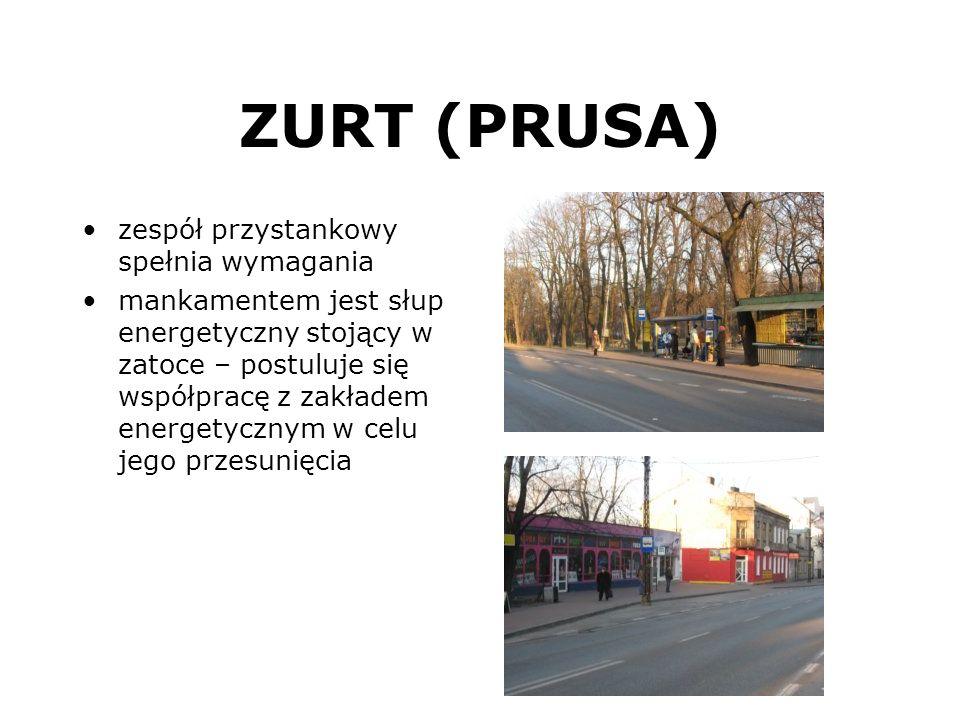 ZURT (PRUSA) zespół przystankowy spełnia wymagania mankamentem jest słup energetyczny stojący w zatoce – postuluje się współpracę z zakładem energetyc