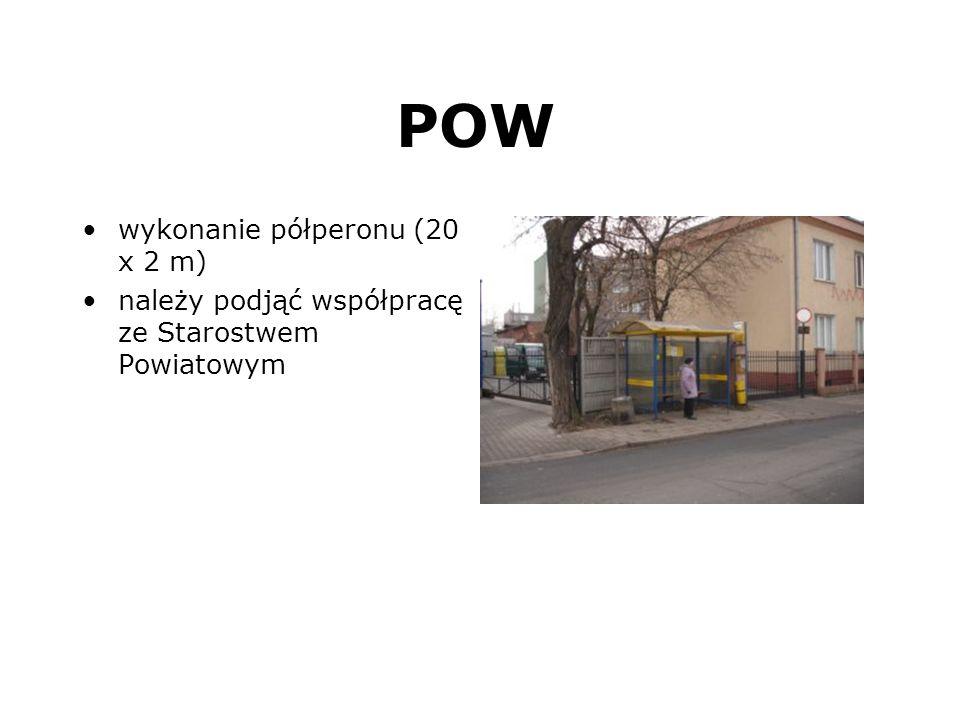POW wykonanie półperonu (20 x 2 m) należy podjąć współpracę ze Starostwem Powiatowym