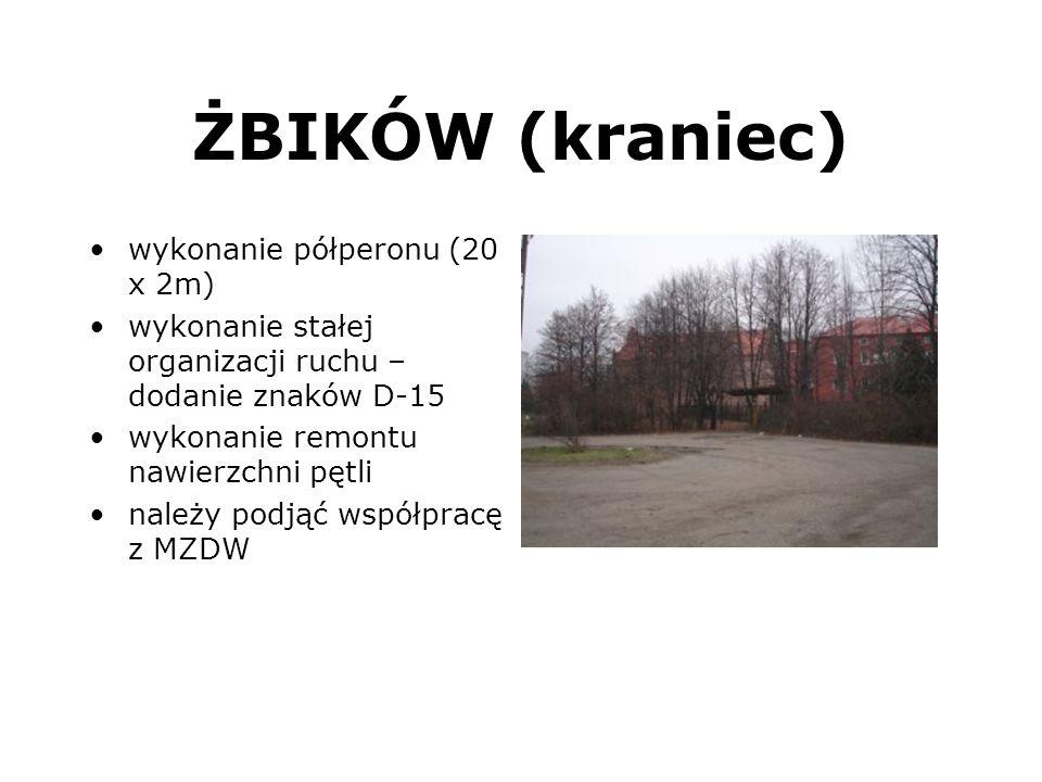 ŻBIKÓW (kraniec) wykonanie półperonu (20 x 2m) wykonanie stałej organizacji ruchu – dodanie znaków D-15 wykonanie remontu nawierzchni pętli należy pod