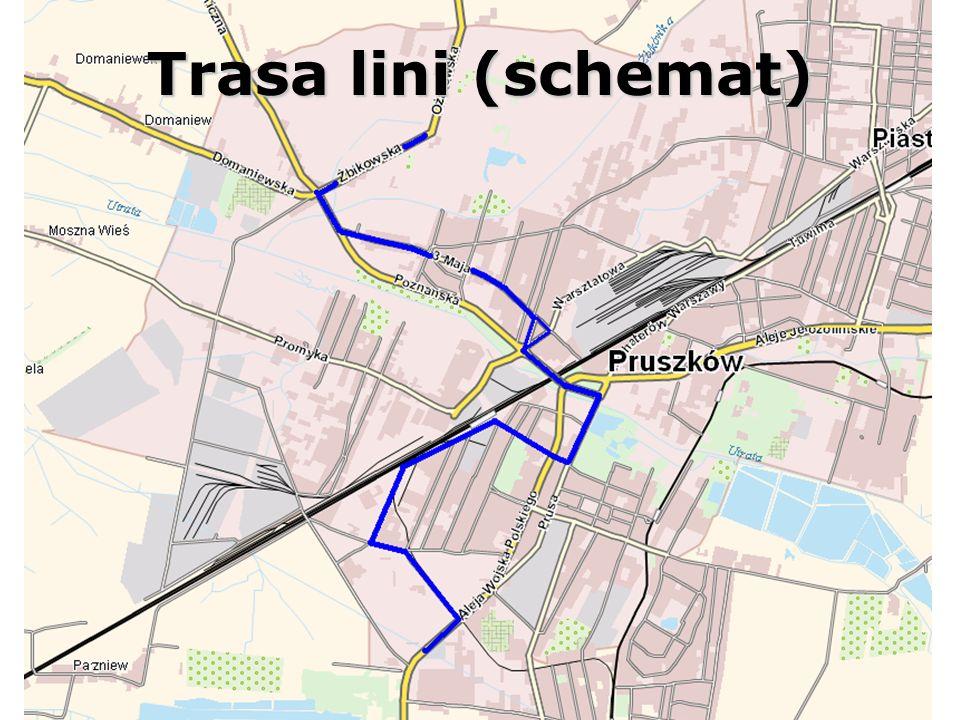4) Do Nadarzyna trasą wariantu nr 3, drogą powiatową Pruszków- Nadarzyn, przez Strzeniowkę z przystankiem krańcowym na Pl.