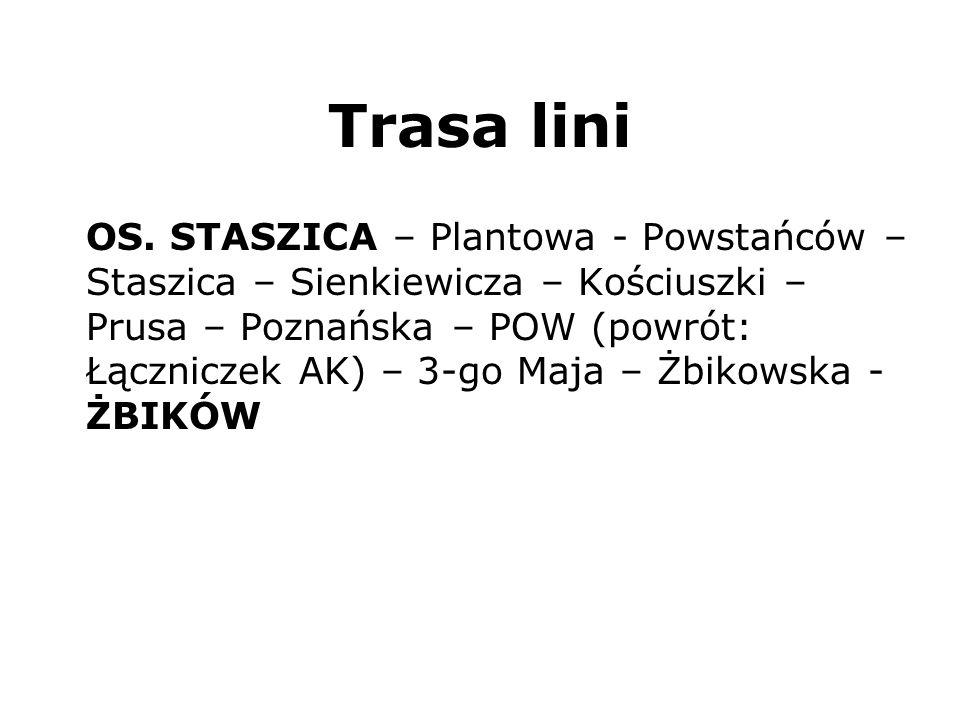 Trasa lini OS. STASZICA – Plantowa - Powstańców – Staszica – Sienkiewicza – Kościuszki – Prusa – Poznańska – POW (powrót: Łączniczek AK) – 3-go Maja –