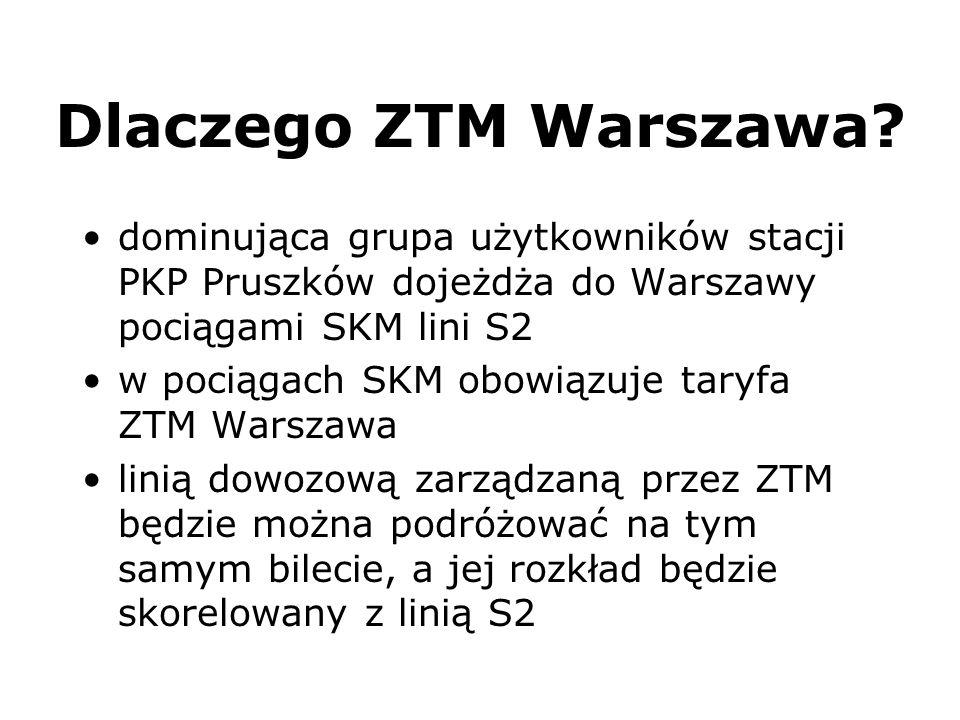 Dlaczego ZTM Warszawa? dominująca grupa użytkowników stacji PKP Pruszków dojeżdża do Warszawy pociągami SKM lini S2 w pociągach SKM obowiązuje taryfa