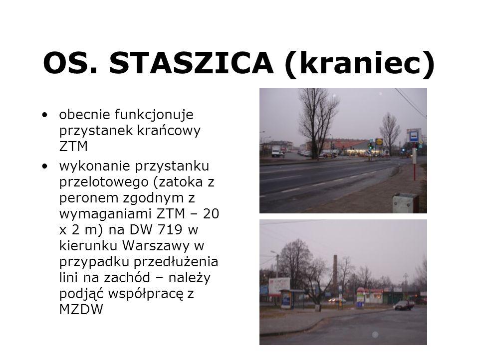OS. STASZICA (kraniec) obecnie funkcjonuje przystanek krańcowy ZTM wykonanie przystanku przelotowego (zatoka z peronem zgodnym z wymaganiami ZTM – 20