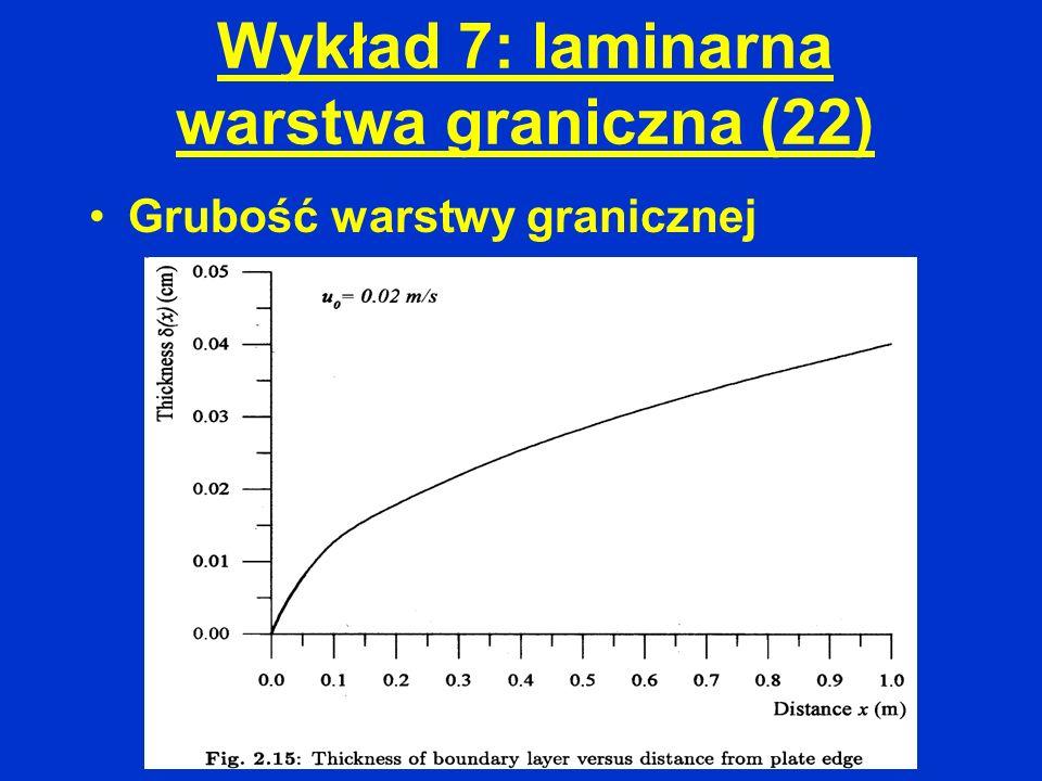 Wykład 7: laminarna warstwa graniczna (22) Grubość warstwy granicznej