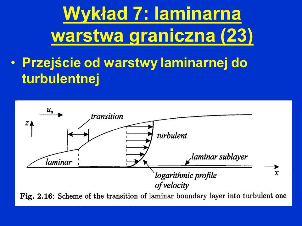 Wykład 7: laminarna warstwa graniczna (23) Przejście od warstwy laminarnej do turbulentnej