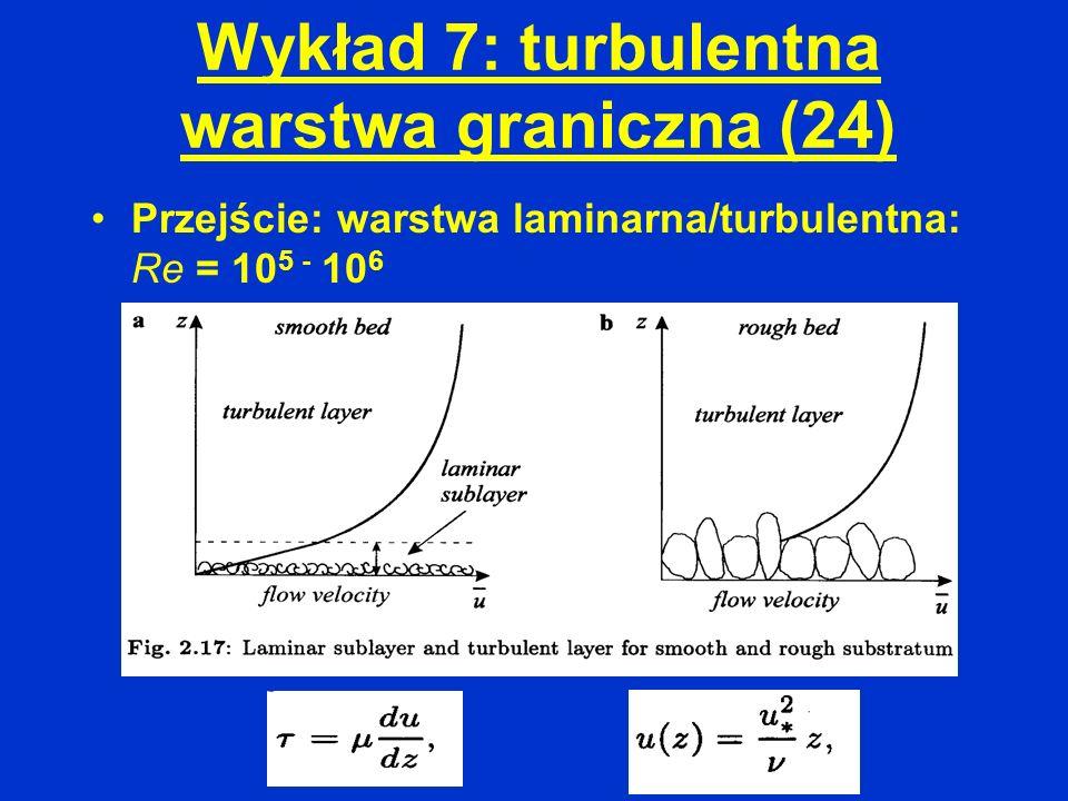 Wykład 7: turbulentna warstwa graniczna (24) Przejście: warstwa laminarna/turbulentna: Re = 10 5 - 10 6
