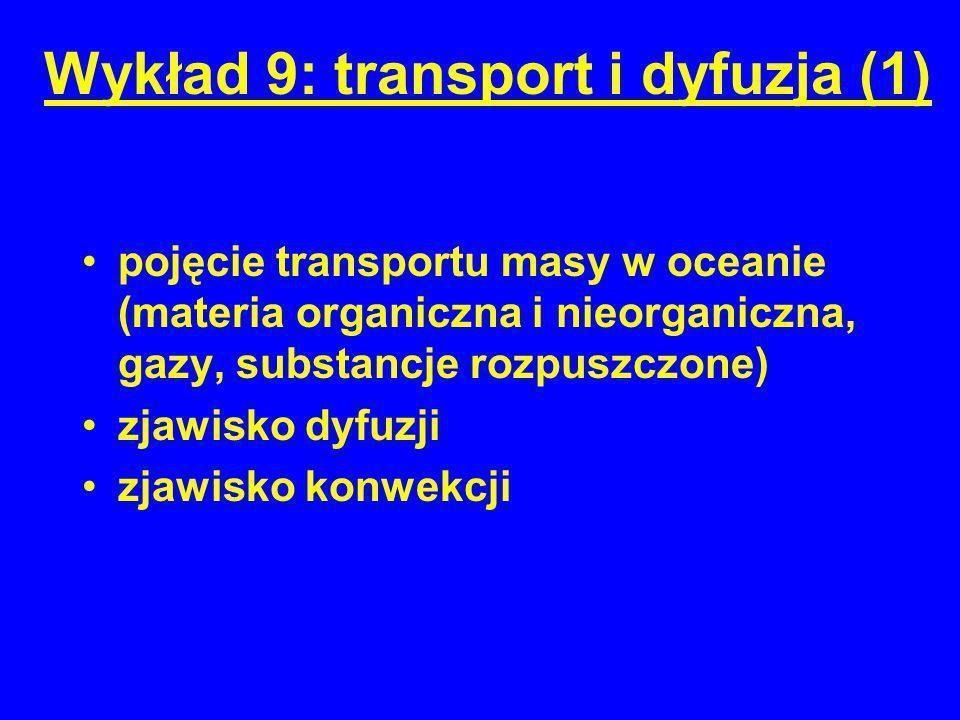 Wykład 9: transport i dyfuzja (1) pojęcie transportu masy w oceanie (materia organiczna i nieorganiczna, gazy, substancje rozpuszczone) zjawisko dyfuz