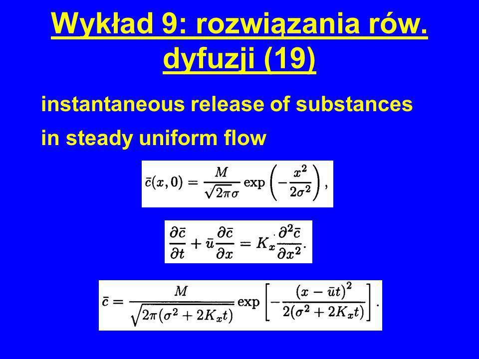 Wykład 9: rozwiązania rów. dyfuzji (19) instantaneous release of substances in steady uniform flow